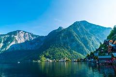 Hallstatt village on Hallstatter lake in Austrian Alps stock photos