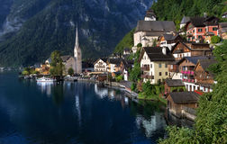 Hallstatt village on lake in Austrian Alps Royalty Free Stock Photos