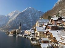 Hallstatt in winter. Hallstatt town by the lake in winter Stock Photography
