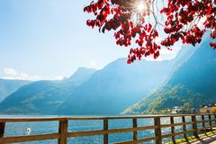 Hallstatter lake in Hallstatt village, Austrian Alps. Royalty Free Stock Images