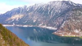 Hallstattersee lake from Salzberg mountain top, Hallstatt, Austria stock footage