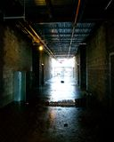 Hallway. A dark hallway in a construction site Royalty Free Stock Images