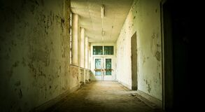 Hallway in abandoned building Royalty Free Stock Photos