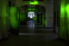 Hallway of abandoned building in green Royalty Free Stock Photography