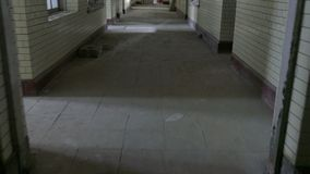 Hallway in Abandoned Mental Asylum Hospital stock video footage