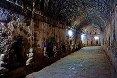 hallway in ancient Htukkhanthein temple, Mrauk U, Rakhine State, Myanmar royalty free stock photo