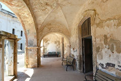 Hallway with Arches at Castillo San Cristobal Stock Photo