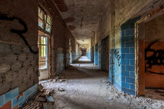 Hallway at the Beelitz heal clinics. The abandoned clinics of Beelitz. No one will be healed here anymore Stock Image