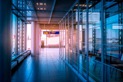 Hallway in Building with glass Stock Image