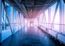 Hallway in Building with glass. Flare effect Royalty Free Stock Images
