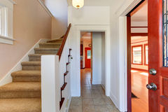 Hallway in empty house with staircase Royalty Free Stock Photography