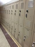 Hallway Full Of Lockers Royalty Free Stock Photography