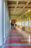 Hallway, Getty Villa, Malibu, California. Roman Replica built by J. Paul Getty, Hallway Detail, Getty Villa, Malibu, California showing columns, ceiling detail Royalty Free Stock Images