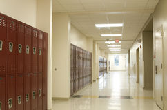 Hallway at High School. In Florida with Lockers Royalty Free Stock Photography