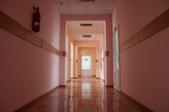 Hallway in a hospital at warm colors stock photos