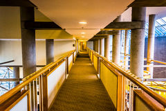 Hallway inside the Hyatt Regency in Baltimore, Maryland. Stock Images