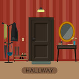 Hallway interior with door. Stock Images