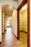 Hallway interior in light tones with hardwood floor. Northwest, USA Stock Photos