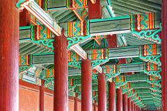 Hallway in the korean ancient palace. Seoul royalty free stock photography