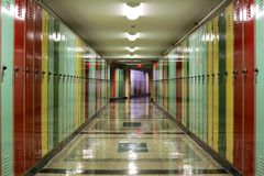 Hallway Lined with Lockers Stock Photography
