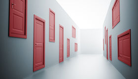 Hallway with many doors Stock Image