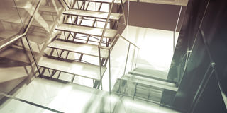 Hallway. Modern office interior, stairs, clean space in business Stock Photos