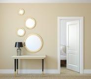 Hallway. Modern hallway with open door. 3d render Royalty Free Stock Image