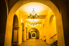 Hallway at night, in Balboa Park  Royalty Free Stock Photo