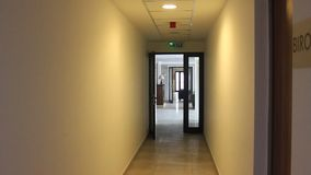 Hallway and office stock footage