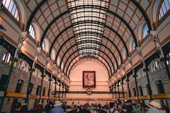 Hallway of the old French colonial style post office in Saigon Ho Chi Minh City in South Vietnam stock photos
