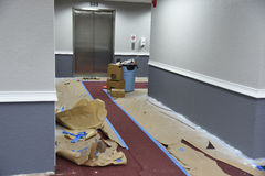Hallway painting near elevator Stock Images