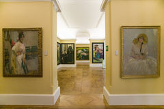 Hallway of paintings by Joaqu�n Sorolla y Bastida (1863-1923) as seen in The Sorolla Museum, Madrid, Spain Stock Photography