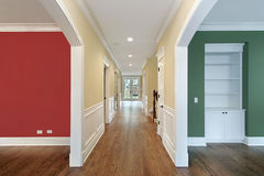 Hallway and rooms with multicolored walls Royalty Free Stock Image