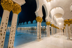 A hallway in the Sheikh Zayed Grand Mosque in Abu Dhabi, United Arab Emirates. Royalty Free Stock Photos