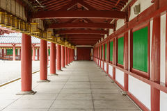 Hallway in Shitennoji Temple in Osaka, Japan. Osaka, Japan - November 26, 2015: Shitennoji Temple was built by Prince Shotoku between 574 and 622. It is the Royalty Free Stock Images