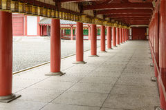 Hallway in Shitennoji Temple in Osaka, Japan. Osaka, Japan - November 26, 2015: Shitennoji Temple was built by Prince Shotoku between 574 and 622. It is the Royalty Free Stock Photos