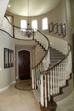 Hallway and Staircase. Mansion hallway with modern staircase and luxurious decor Stock Images