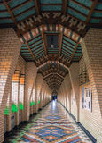 Hallway to the entrance to the Benedictine Abbey sanctuary  with beautiful tiled design Royalty Free Stock Photo