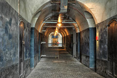 Hallway To Terror (Breendonk). During World War II the fort was briefly used as the General Headquarters of King Leopold III, leading the Belgian armed forces Royalty Free Stock Images