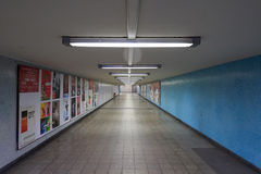 Hallway to the U-Bahn in Berlin. Long and empty hallway leading to the U-Bahn in Berlin Royalty Free Stock Images