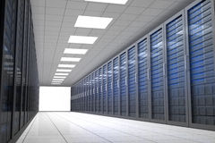 Hallway of tower servers Royalty Free Stock Photography