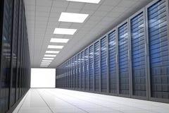 Hallway of tower servers vector illustration