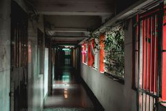 Hallway in a traditional Hong Kong mansion in Kowloon stock photography