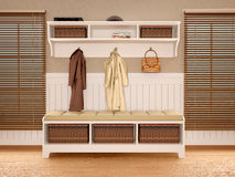 Hallway in warm tones with wooden shutters Stock Photography