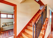 Hallway with wooden stairs Royalty Free Stock Photo