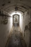 Hallway of an WW2 bunker in Germany in the underground Royalty Free Stock Photography
