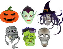 Hallween devils. (Vampire and pumpkin and witch and mummy and Frankenstein and skull Royalty Free Stock Photography