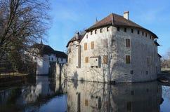Hallwyl castle on the lake Hallwil. Stock Photos