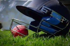 Halmet et boule de cricket sur un pré vert photographie stock libre de droits