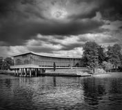 Halmstad-Bibliothek bw Stockfoto